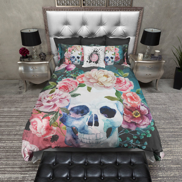 green and grey watercolor skull bedding ink and rags. Black Bedroom Furniture Sets. Home Design Ideas