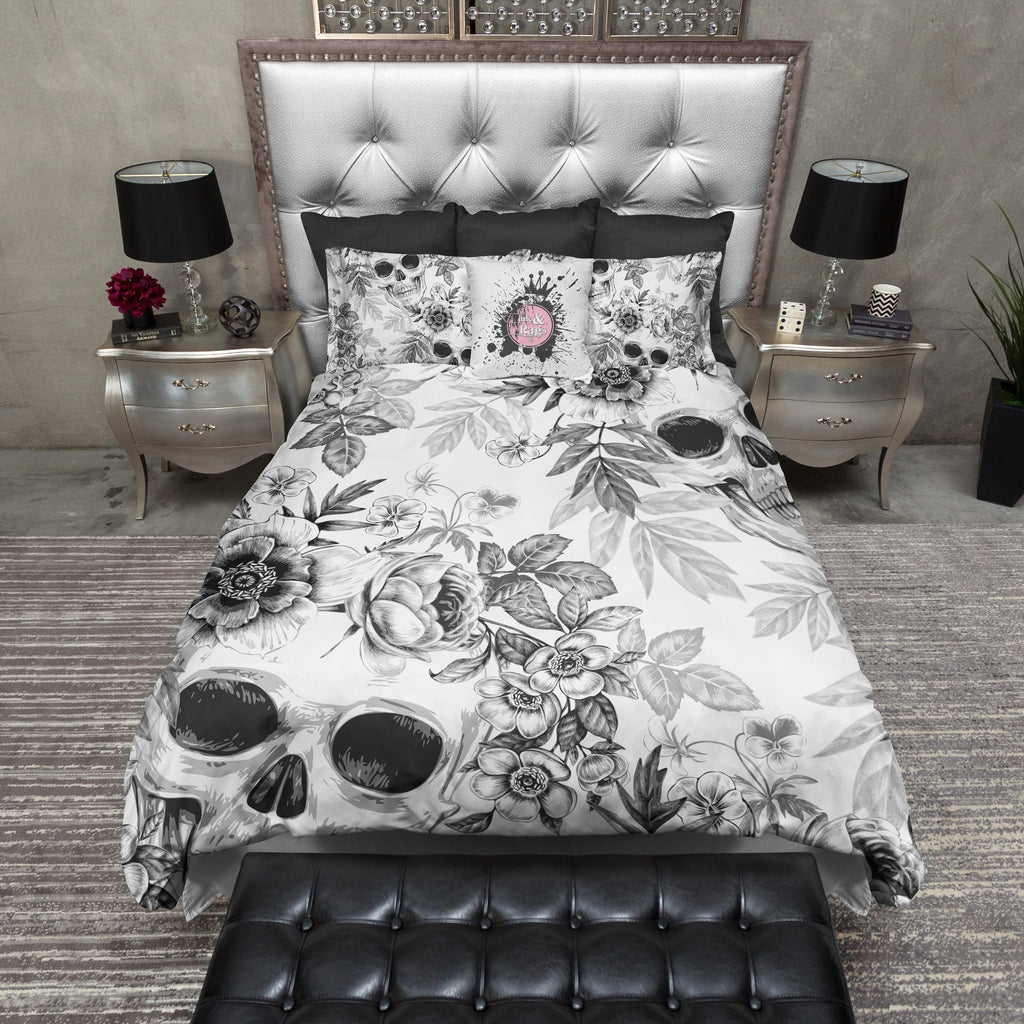 Blackprint on White Flower and Skull Duvet Bedding Sets