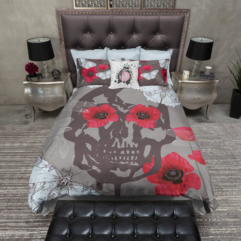 Blue Moth and Red Poppy Skull Bedding Collection