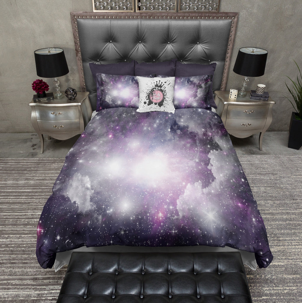 Purple And Grey Nebula Galaxy Bedding Ink And Rags