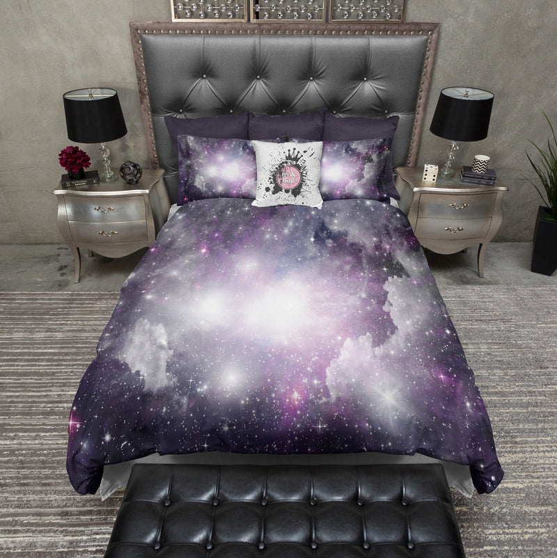 Purple and Grey Nebula Galaxy Bedding