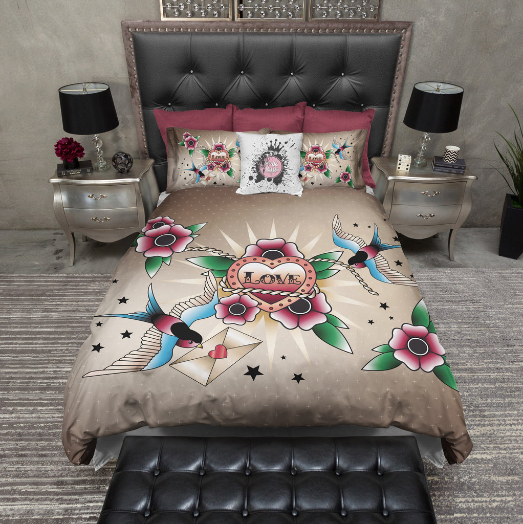Rockabilly Love Heart and Swallow Bedding