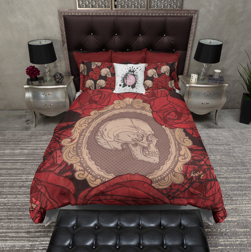 Cameo Skull and Red Rose Bedding