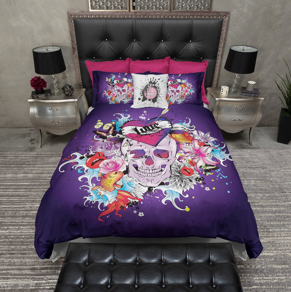 Love Tattoo Purple Skull Duvet Bedding Sets Ink And Rags