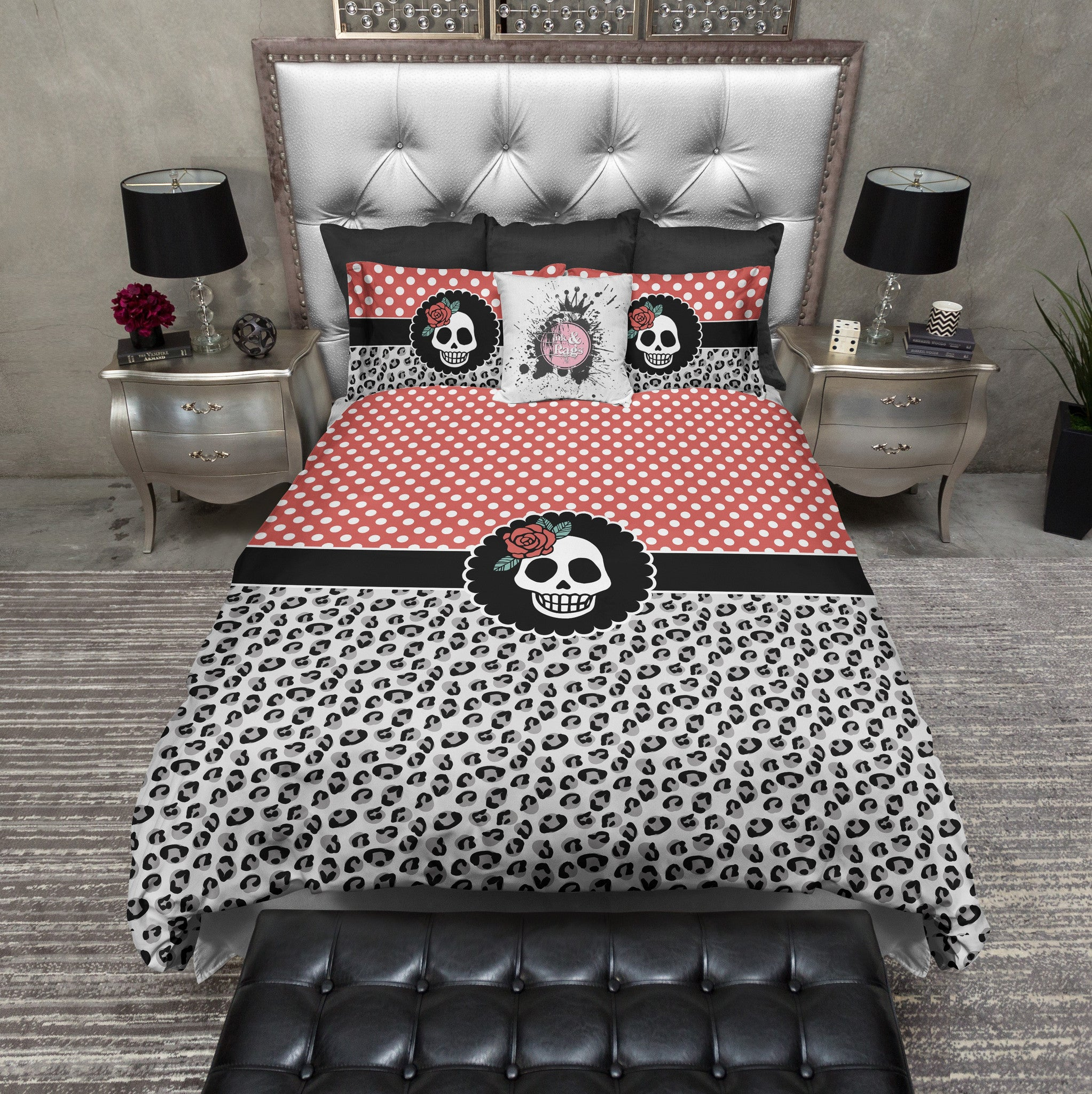 Leopard and red bedding -  Rockabilly Leopard And Red Dot Skull Duvet Bedding Sets