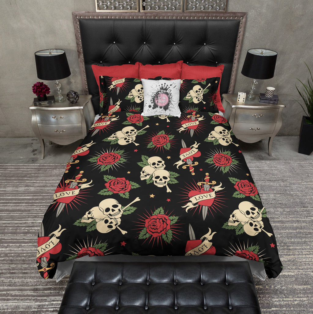 Love Skull Bedding with Hearts, Swords and Roses Duvet Bedding Sets