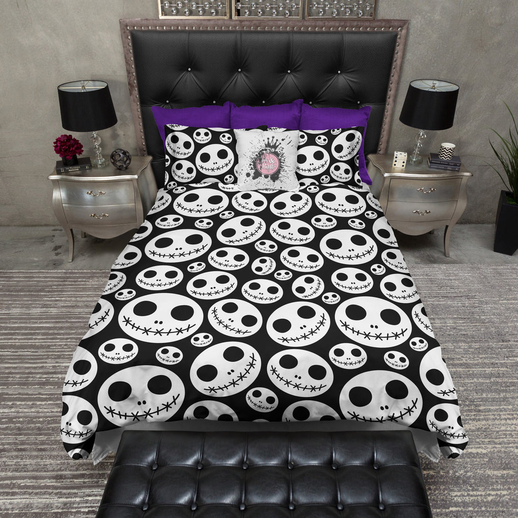 Jack Skellington Inspired Skull Heads Bedding