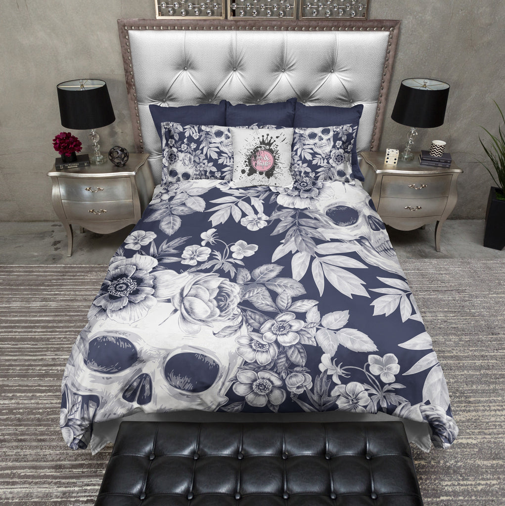 Dark Blueprint Lily Skull Bedding Collection