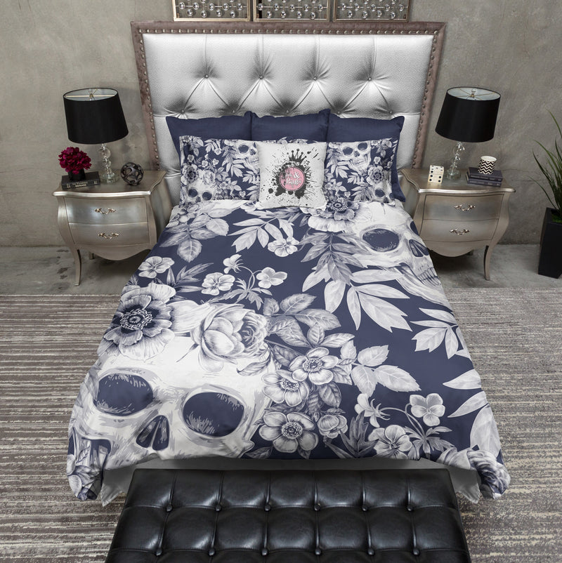 Dark Blueprint Lily Skull Bedding