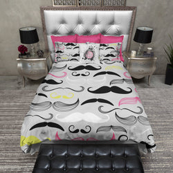 Colorful Hipster Mustache Bedding