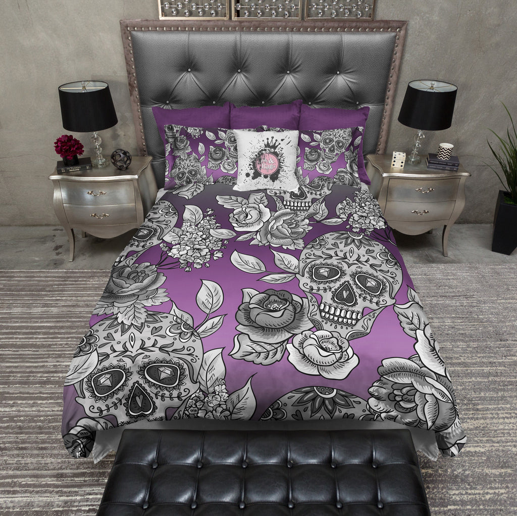 Signature Purple Ombre Sugar Skull and Rose Duvet Bedding Sets
