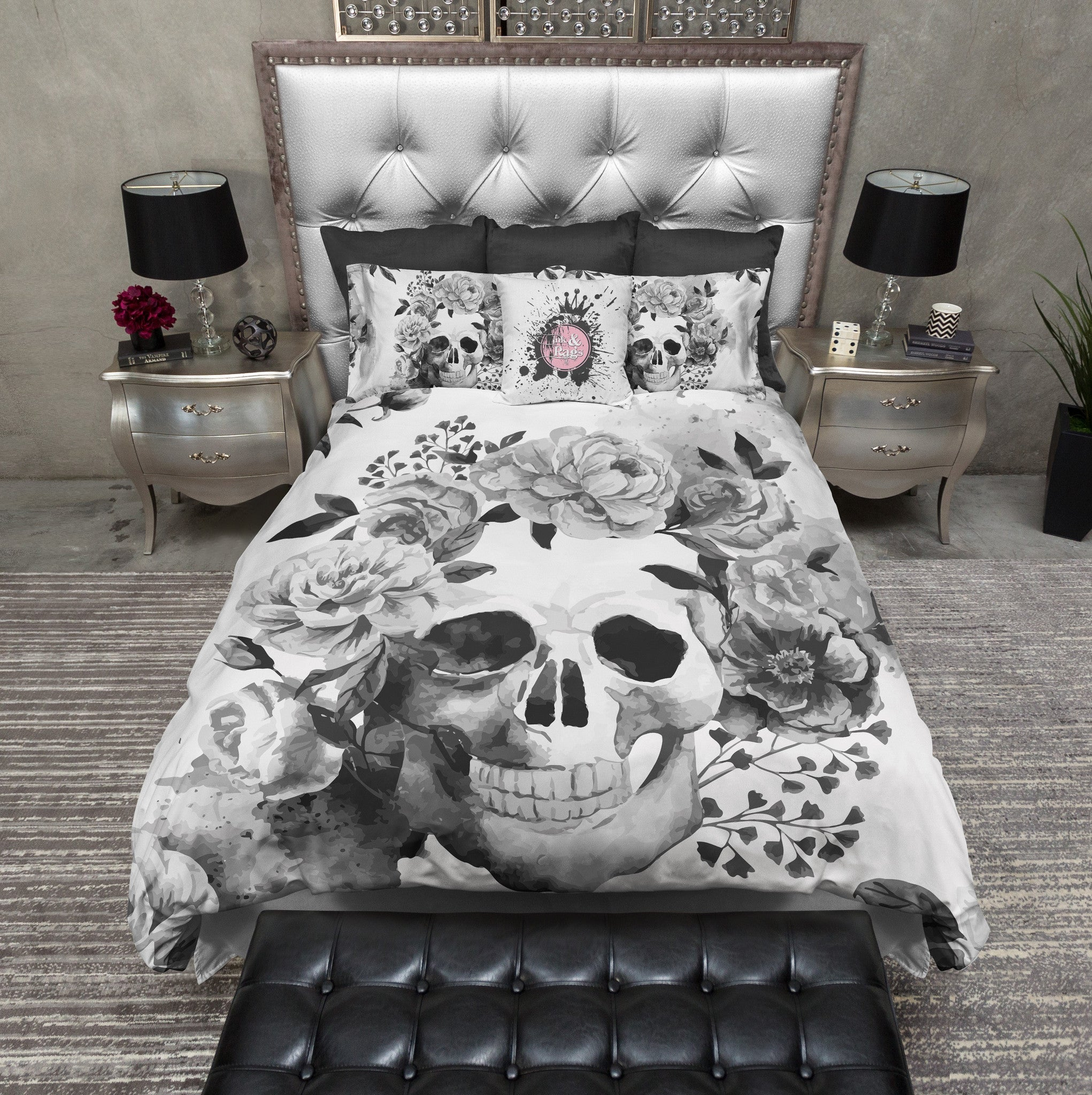 Black and White Watercolor Skull Bedding - Ink and Rags