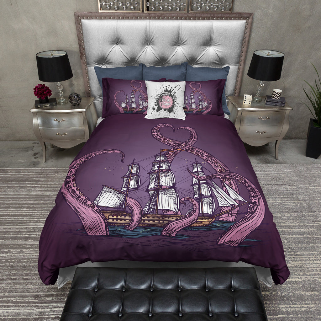 Purple Octopus Kraken Ship Duvet Bedding Sets