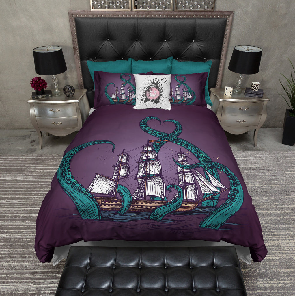 Teal Tentacle Purple Octopus Kraken Ship Bedding Ink And
