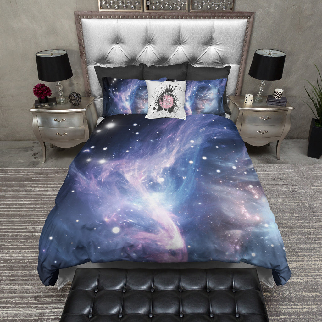 Blue Purple Nebula Galaxy Duvet Bedding Sets