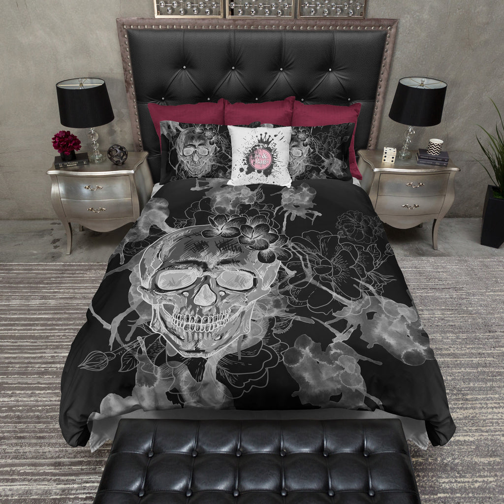 White on Black Watercolor Skull Bedding Collection