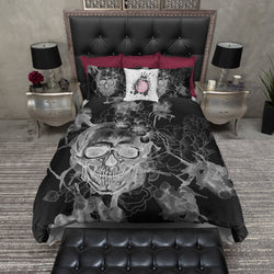 White on Black Watercolor Skull Bedding