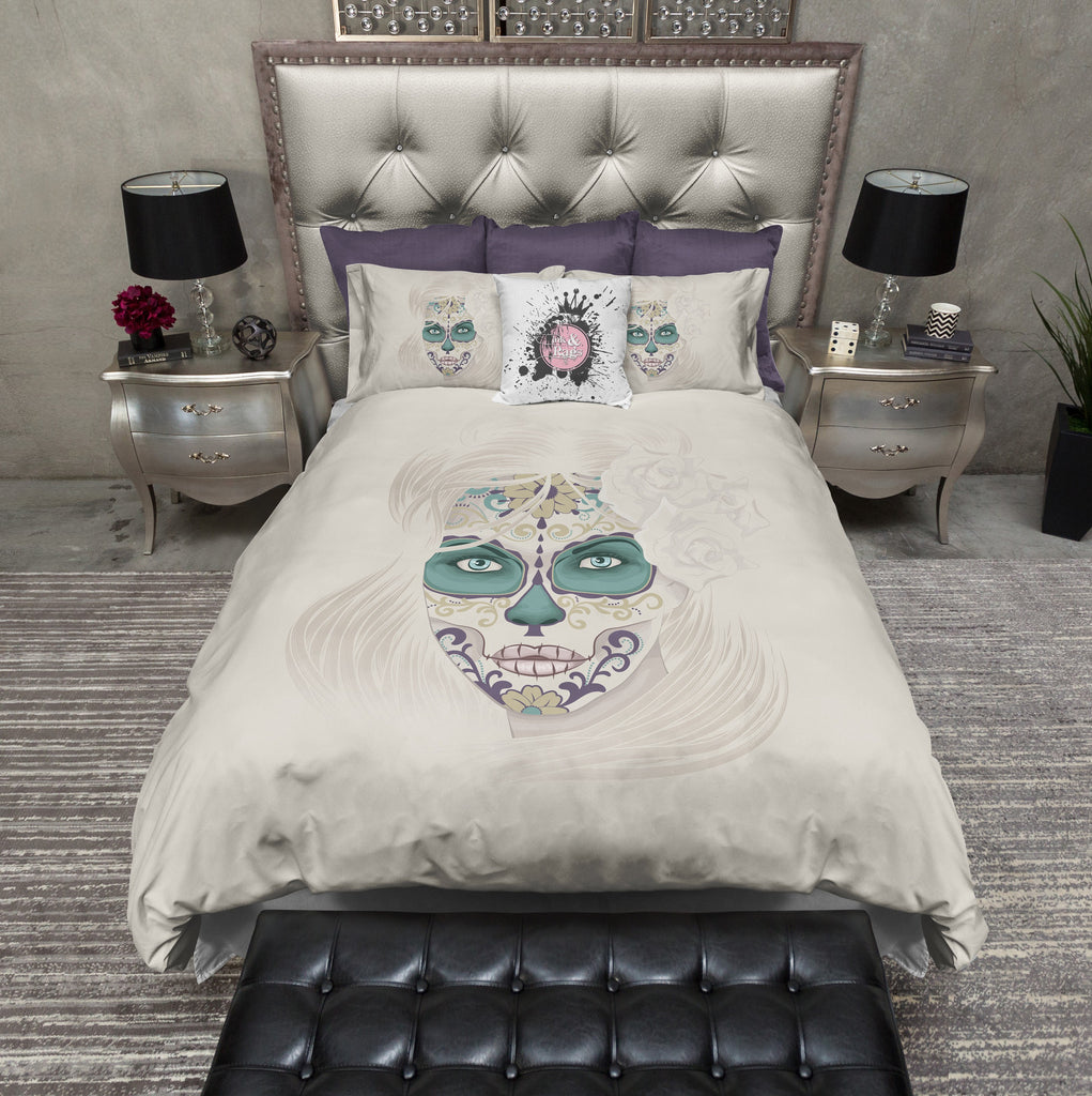 Painted Lady Green Sugar Skull Bedding