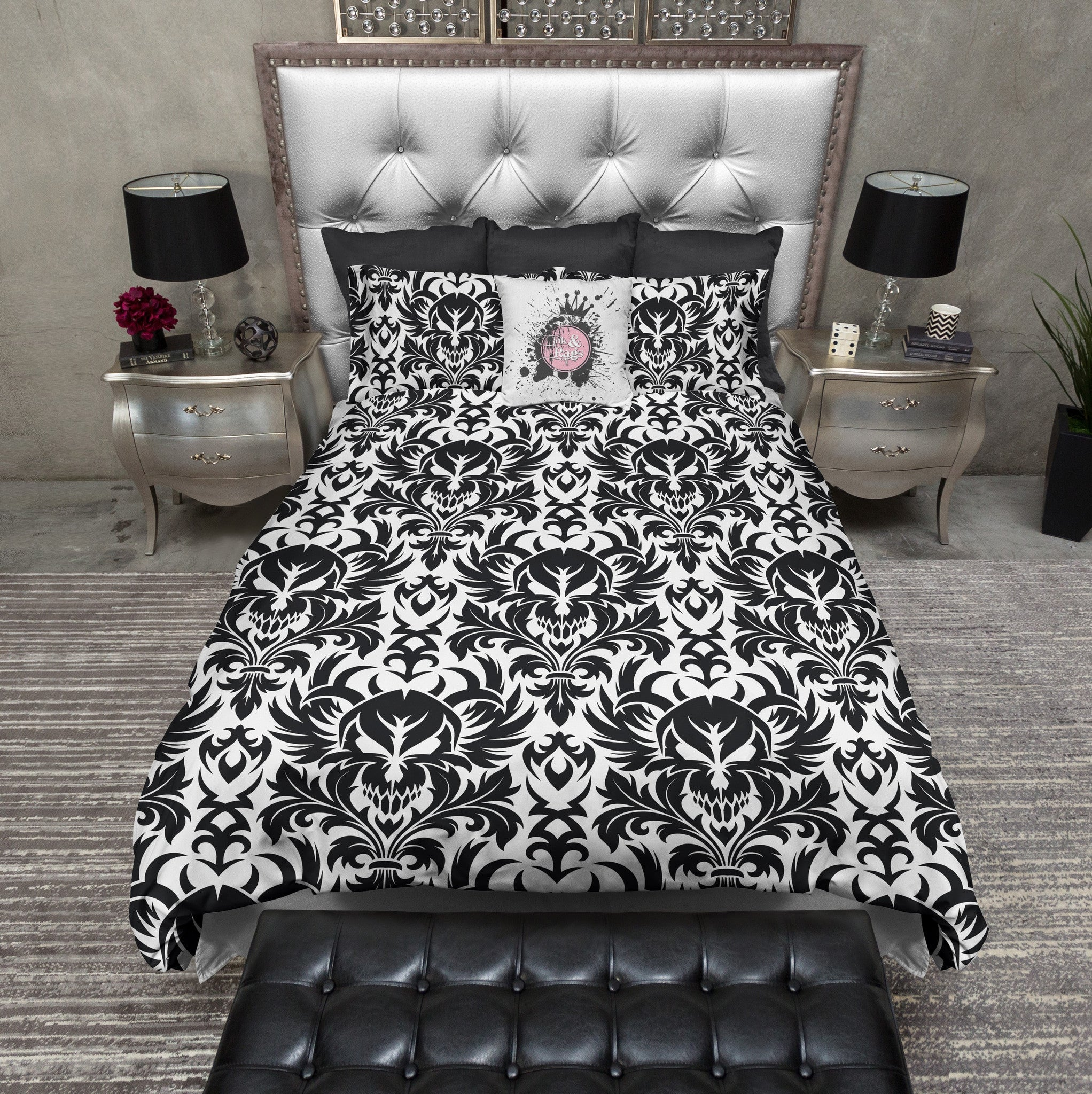 Black And White Damask Skull Bedding Ink And Rags