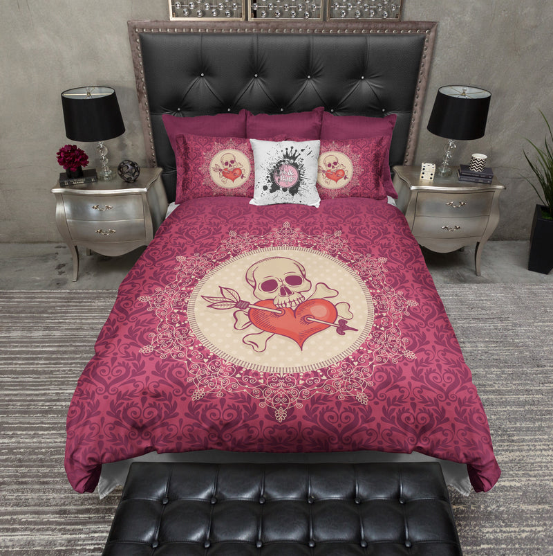 Red Damask and Lace Medalion Heart Skull Duvet Bedding Sets