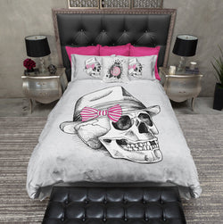 Fedora Pink Bow Skull Duvet Bedding Sets