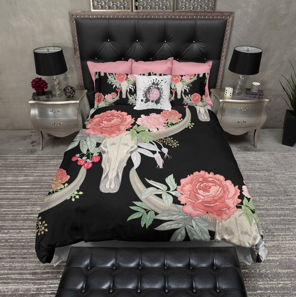 Texas Longhorn Flower and Steer Bull Cow Skull Bedding Collection
