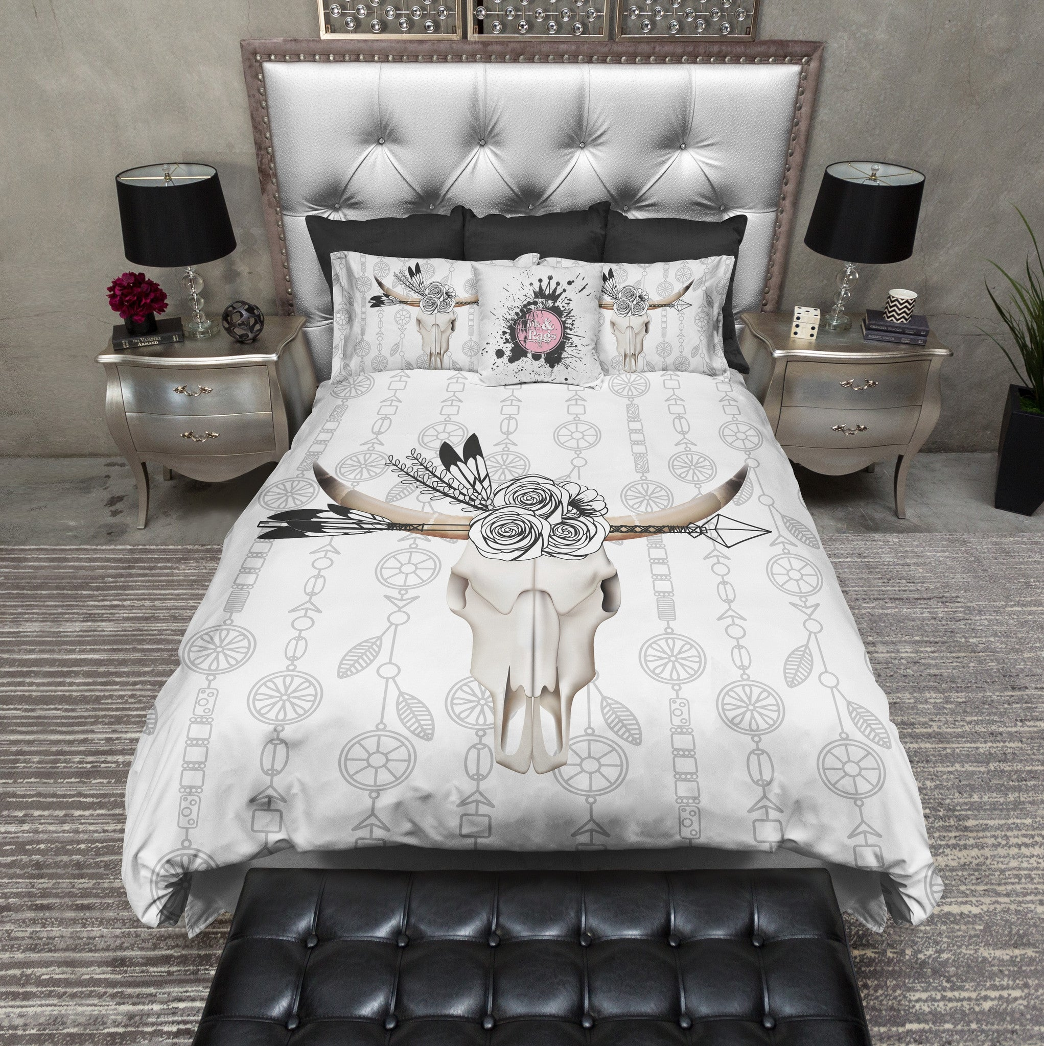 Boho Bull Skull Flower and Feather Bedding - Ink and Rags