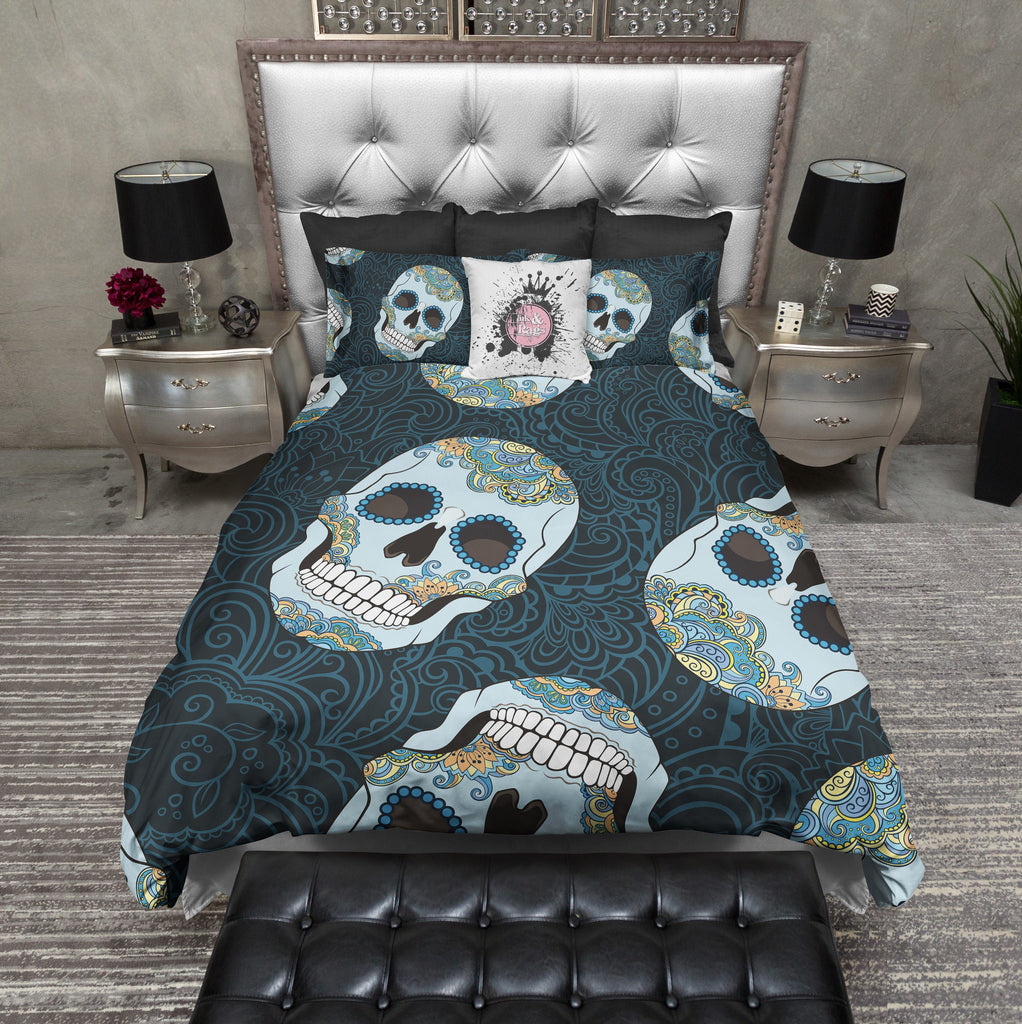 Blue and Gold Sugar Skull Duvet Bedding Sets