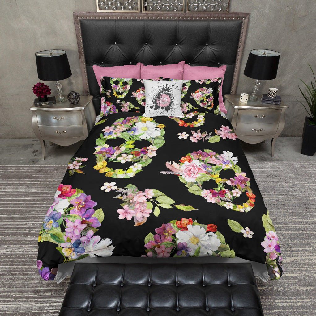 Flower and Rose Skull Bedding Collection