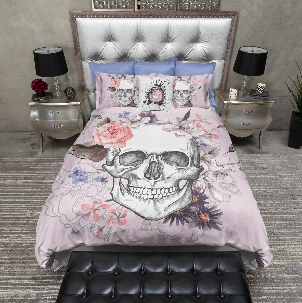 Soft Pink and Floral Skull Duvet Bedding Sets