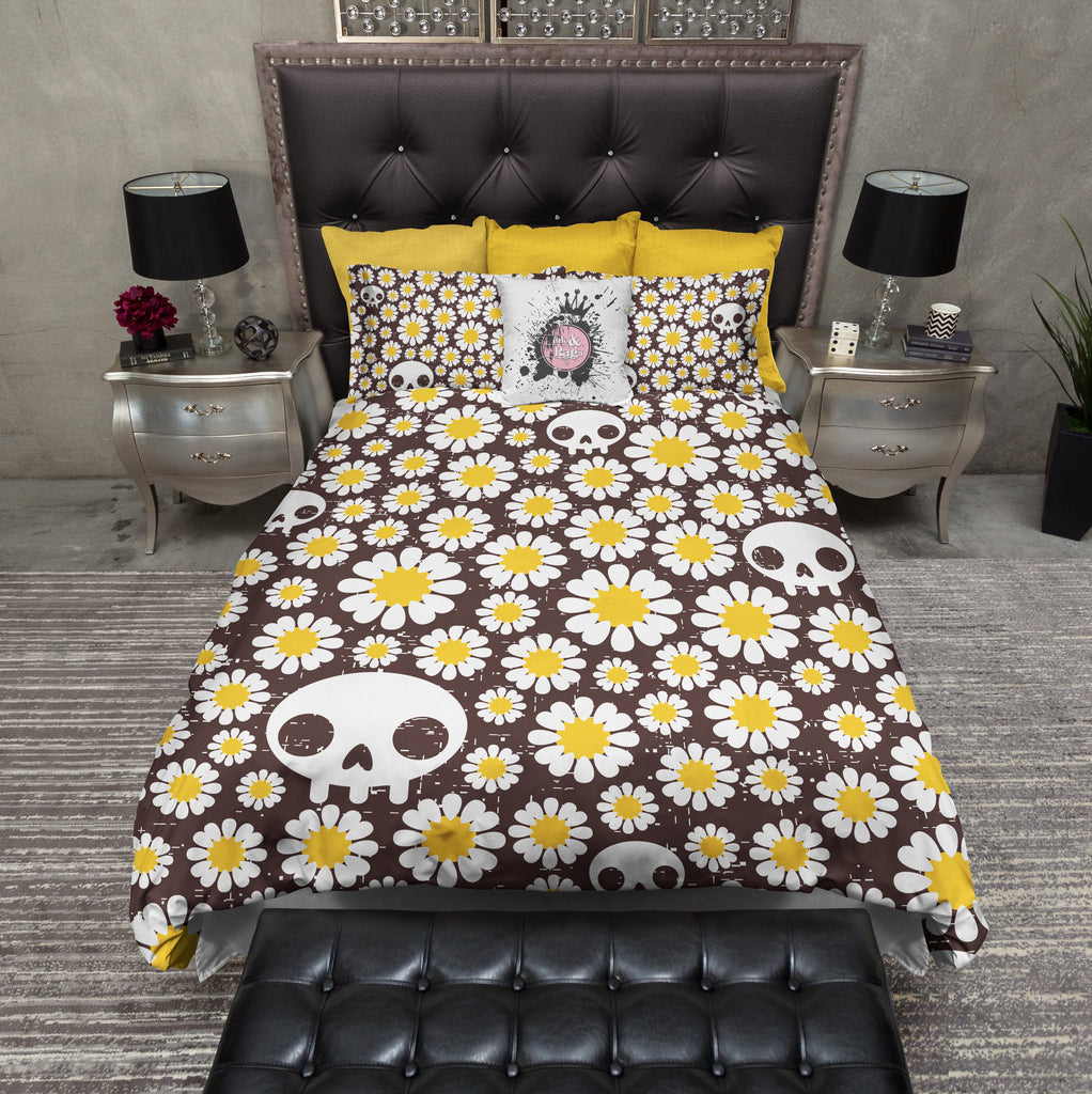 Pushing Up Daisies Skull Duvet Bedding Sets