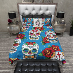 Blue Day of the Dead Sugar Skull Red Rose Bedding