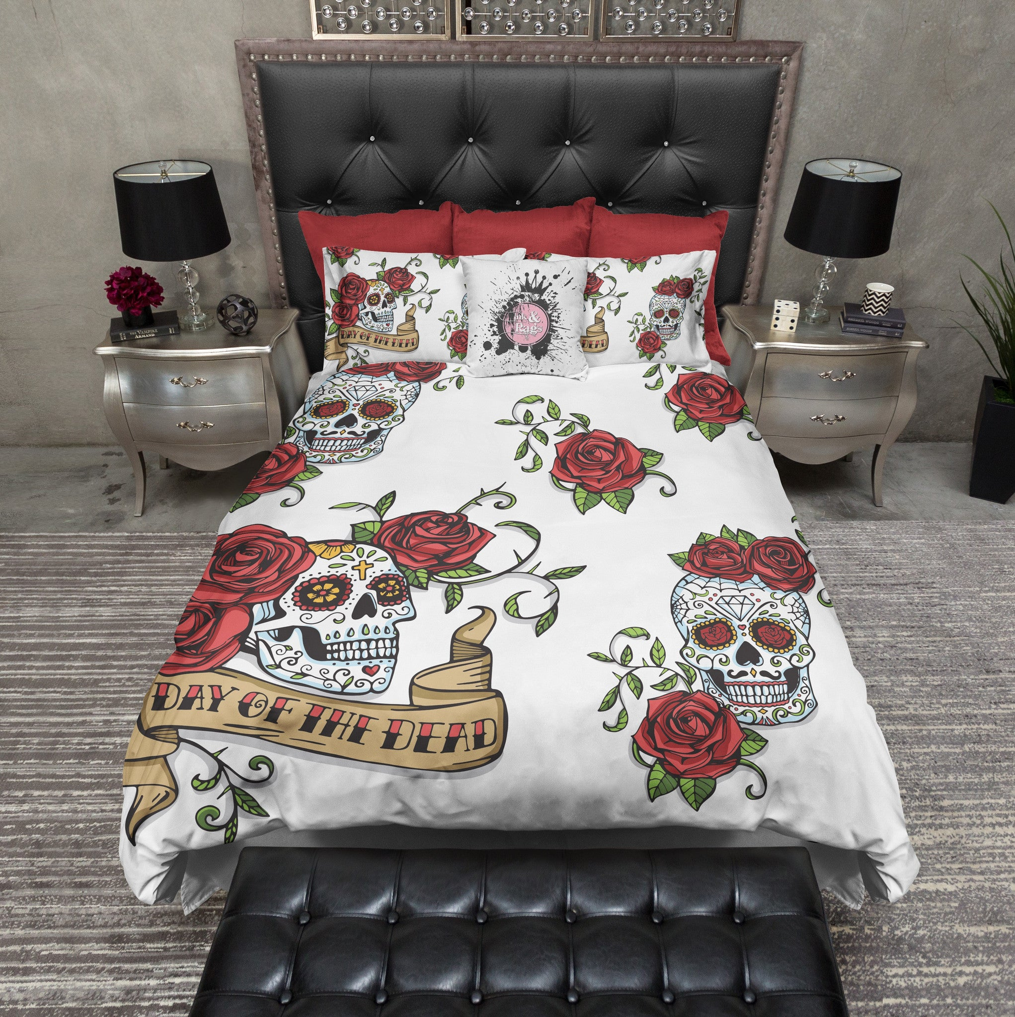 day of the dead rose and sugar skull duvet bedding sets - ink and rags