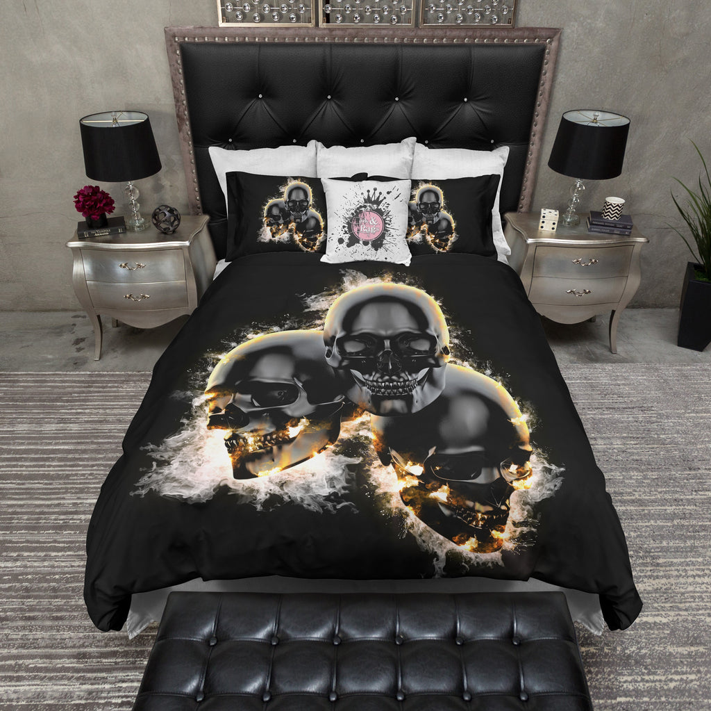 Flaming Black Triple Skulls Bedding Collection