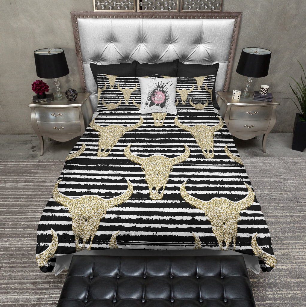 Faux Glitter Cow Skull and Stripe Bedding