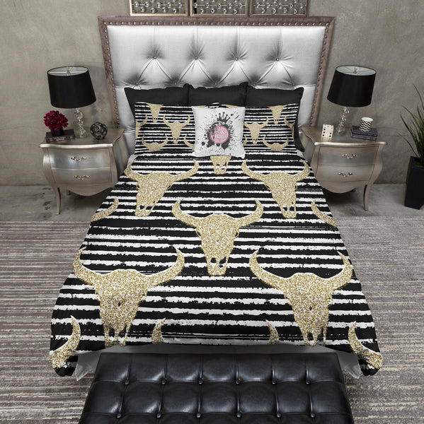 Faux Glitter Cow Skull And Stripe Duvet Bedding Sets Ink