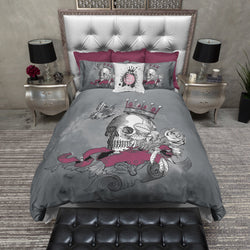 Burgundy and Grey Skull Bedding