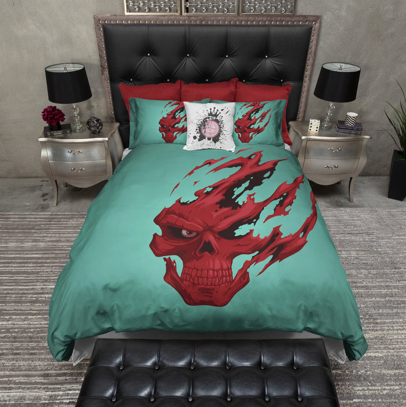 Red Devil Teal and Red Skull Bedding