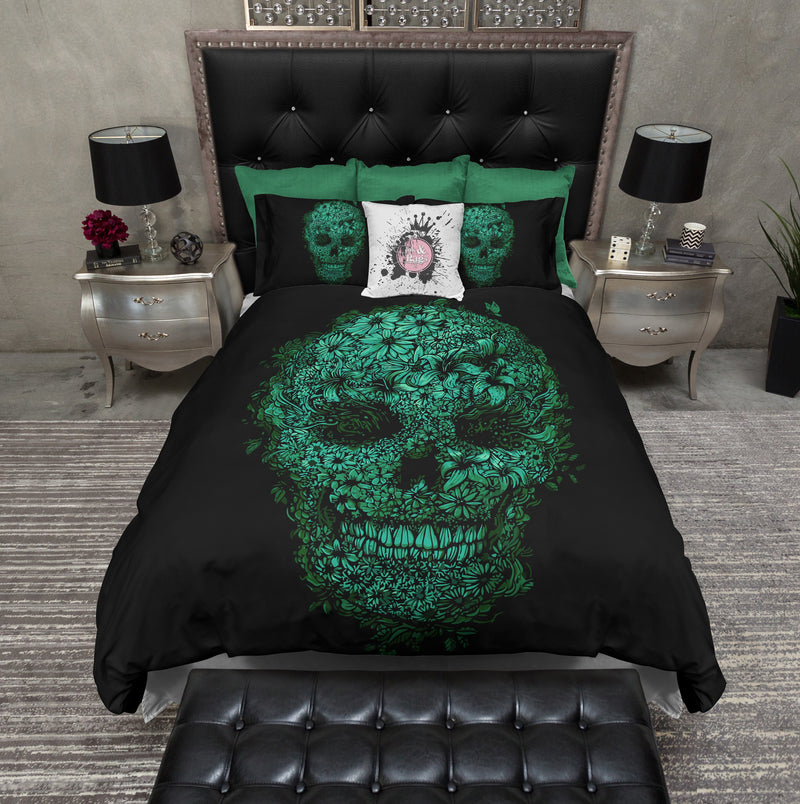 Black and Green Floral Skull Bedding