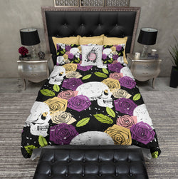 Splatter Paint Jewel Tone Rose and Skull Bedding