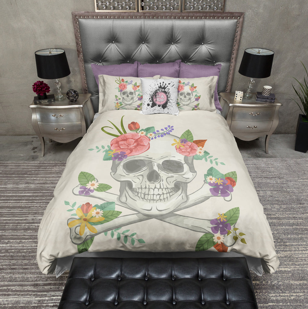 Whimsy Floral Skull and Crossbone Bedding CREAM