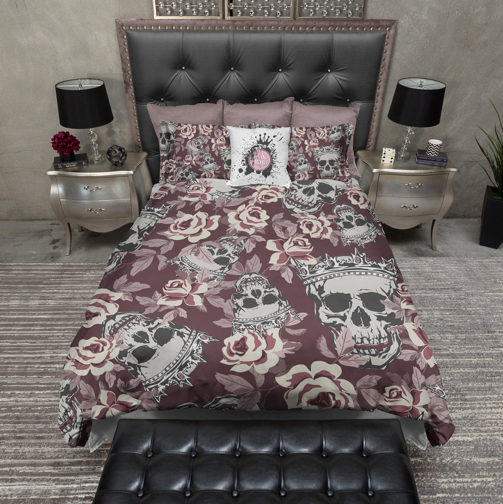 Fit for a King and Queen Rose Skull Bedding