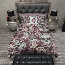 Fit for a King and Queen Rose Skull Duvet Bedding Sets