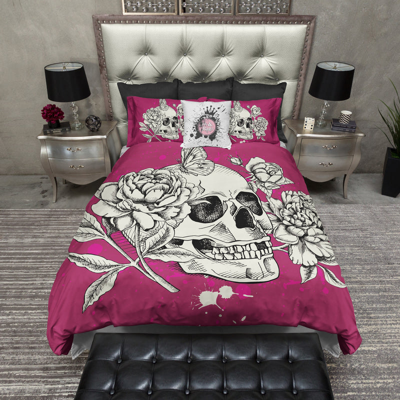 Bright Pink Peony and Butterfly Skull Bedding CREAM