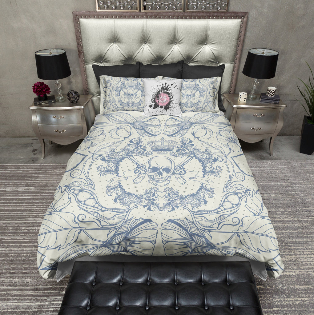 Detailed Blue and Cream Skull Gun and Crown Duvet Bedding Sets