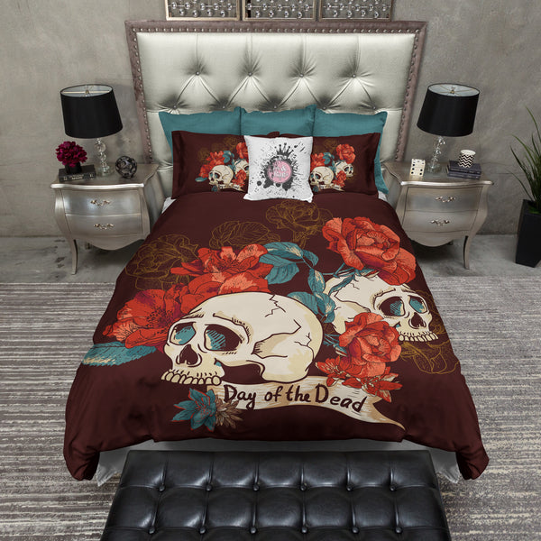 Day Of The Dead Bathroom Set: Bright Red Flower And Day Of The Dead Skull Bedding CREAM