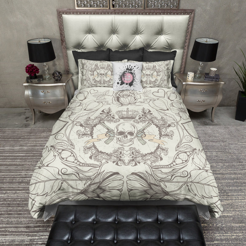 Detailed Skull Guns and Crown Bedding CREAM