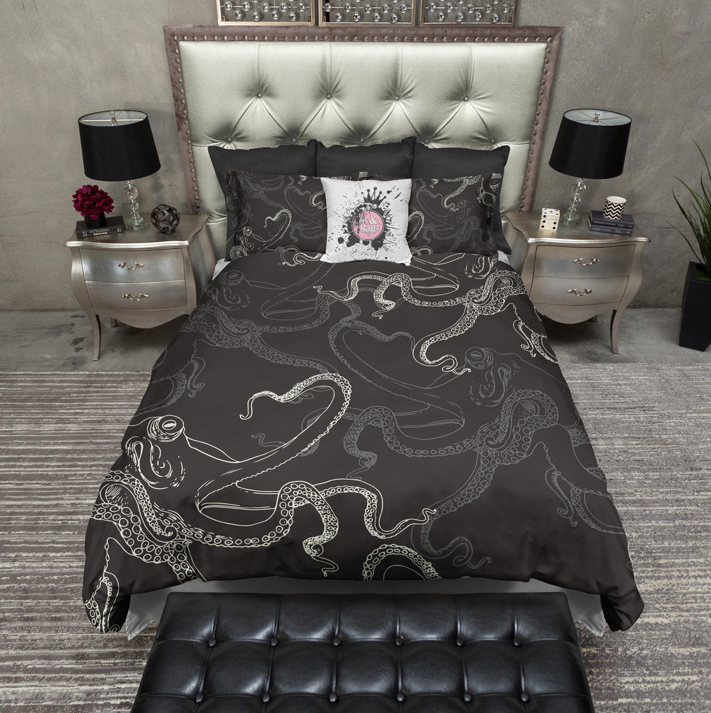 Black and Cream Octopus Duvet Bedding Sets
