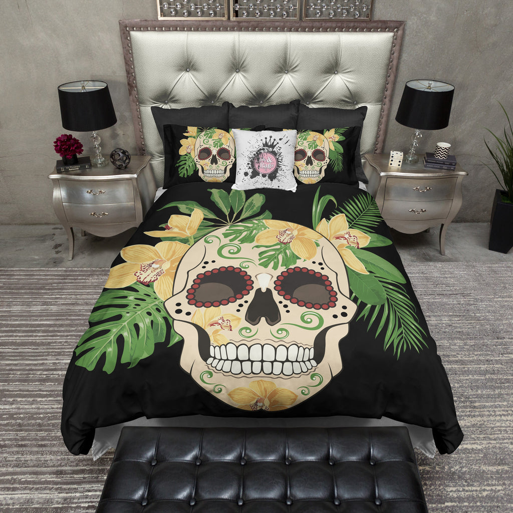 Golden Tropical Sugar Skull Bedding CREAM