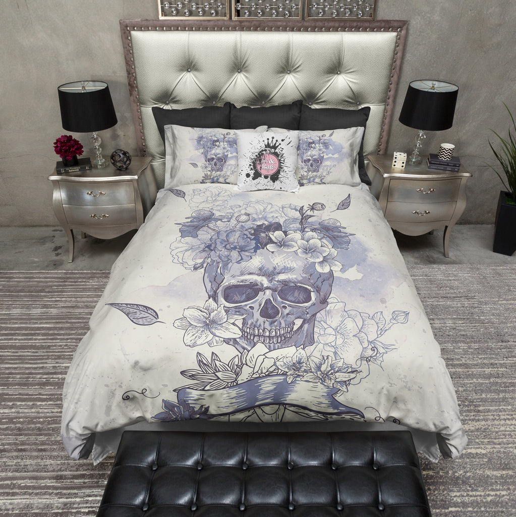Purple and Blue Watercolor Skull Bedding CREAM